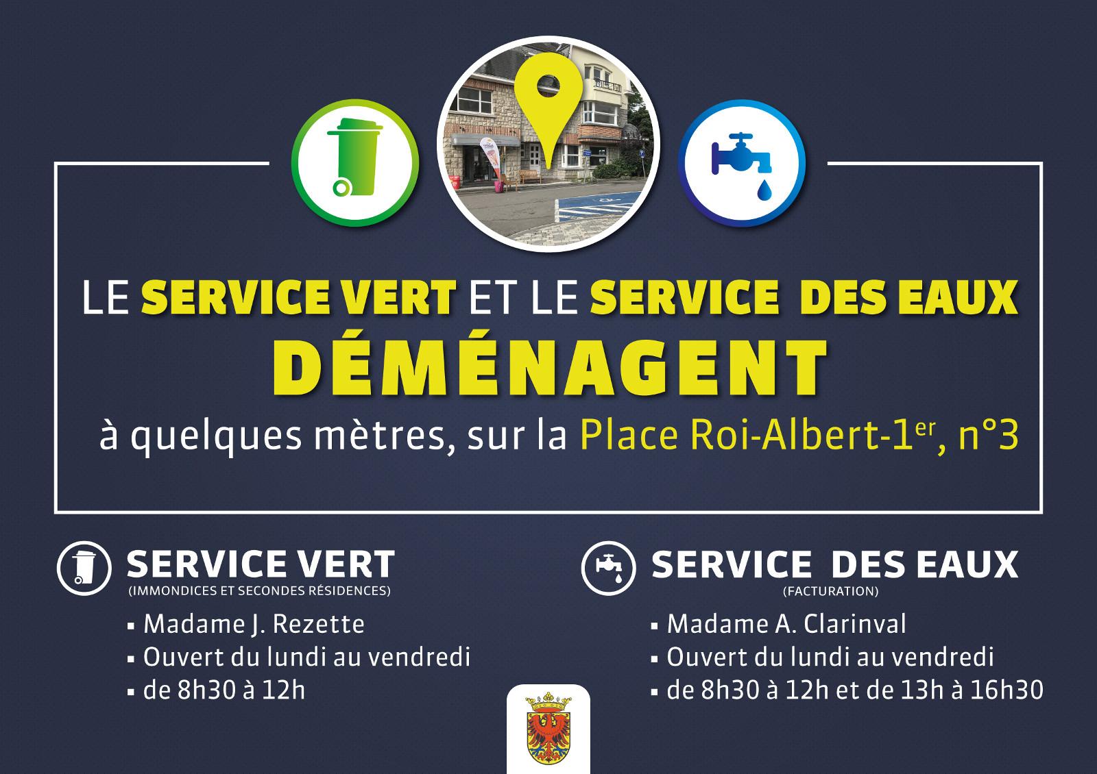 Le Service Vert et le Service des Eaux déménagent sur la Place Roi Albert Ier, n°3